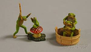 Austrian Miniature Coldpainted Bronze Frog Washing a Frog in a Tub Figural Group and a Frog Scolding a Smaller Frog atop a Toadstoo