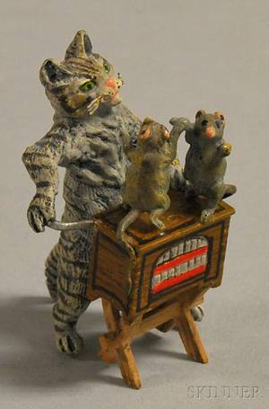Austrian Miniature Coldpainted Bronze Figure of a Cat with Street Organ and Dancing Mice