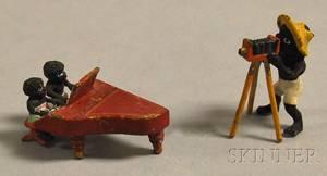 Austrian Miniature Coldpainted Bronze Black Americana Piano Duo Figural and a Black Americana Photographer Figure
