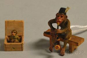 Austrian Miniature Coldpainted Bronze Figure of Hatwearing Monkey Sitting on a Bench while Smoking a Meerschaum Pipe and a Figure of