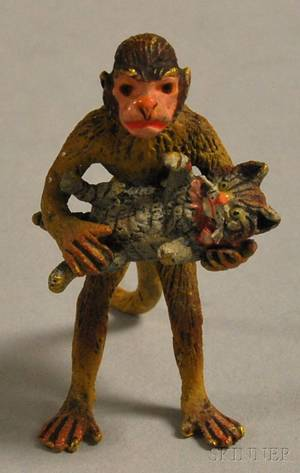 Austrian Miniature Coldpainted Bronze Figure of a Monkey Holding a Cat