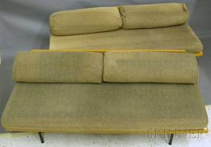 Pair of Midcentury Modern Blondewood and Iron Sofas with Upholstered Cushions