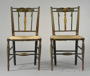 Pair of Blackpainted Polychrome and Gilt Neoclassical Side Chairs
