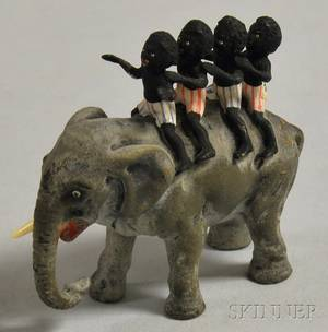 Austrian Miniature Coldpainted Bronze Figure of Black Americana Children Riding an Elephant