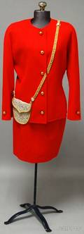 Bill Blass Red Skirt Suit With Gold Buttons and Metallic Gold and Beaded Purse Design