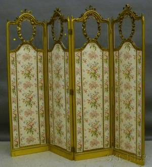 Louis XVstyle Carved Giltwood Glass and Upholstered Fourpanel Floor Screen