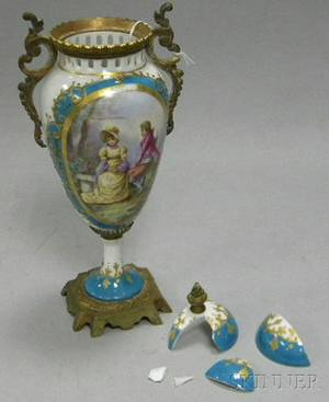 Sevresstyle Giltbronzemounted Porcelain Vase and Cover