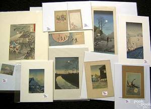 Fourteen Japanese woodblock prints and engravings