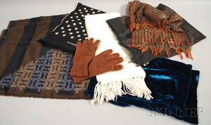 Six Assorted Womens Designer Scarves and Pair of Gloves