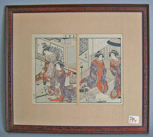 Seven Japanese woodblocks