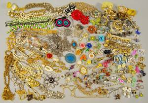Large Group of Mostly 1950s1970s Costume Jewelry