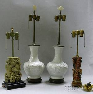 Pair of Chinese Blancdechine VaseTable Lamps and Two Carved Soapstone Table Lamps