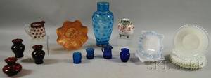 Large Mary Gregorytype Enameled Blue Aqua Coin Spot Art Glass Vase and Fifteen Pieces of Assorted Colored Art Glass