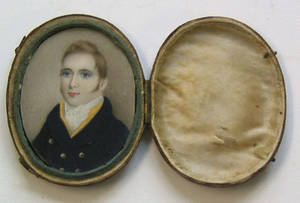 Miniature watercolor on ivory portrait early 19th c
