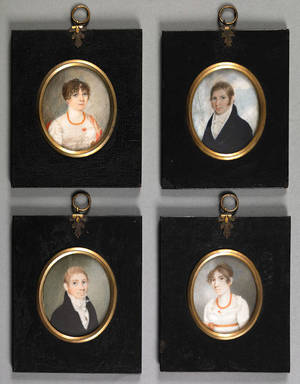 Rare set of 4 Maryland miniature watercolor on ivory portraits early 19th c