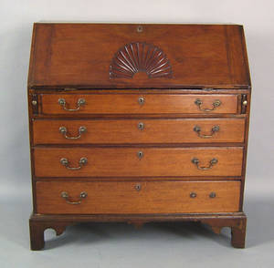 New England Chippendale mahogany slant front desk late 18th c
