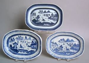 Three Chinese export Canton platters