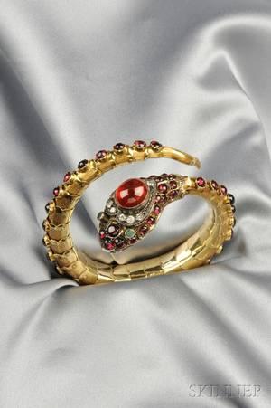 14kt Gold and Garnet Snake Bracelet