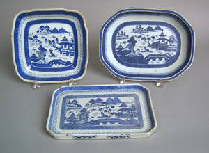 Three Chinese export Canton serving dishes 19th c