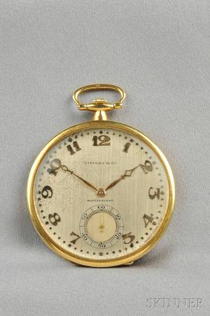 Art Deco Platinum and 18kt Gold Open Face Pocket Watch Touchon  Co Tiffany  Co