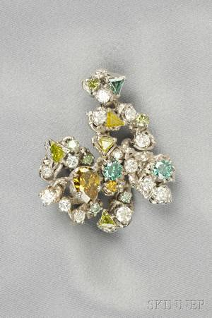 18kt White Gold Colortreated Diamond and Diamond Brooch Arthur King