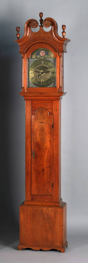 Lancaster County Pennsylvania Chippendale walnut tall case clock ca 1770