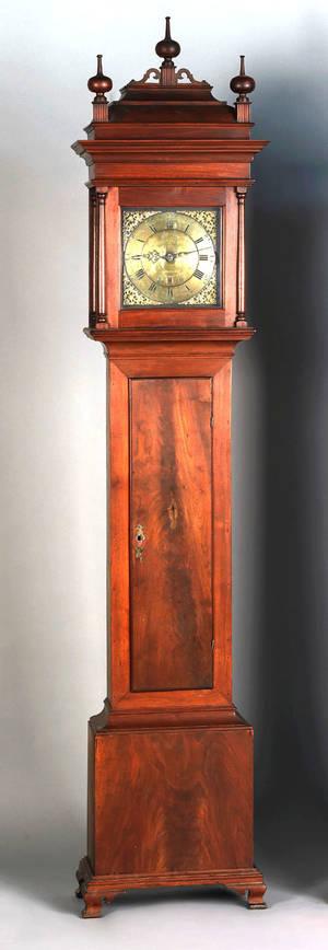 Philadelphia Queen Anne walnut tall case clock ca 1770