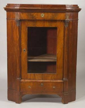 Continental Empire Revival Giltbronze Mounted Mahogany Corner Cabinet