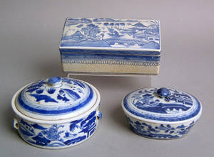 Three Chinese export Canton covered dishes 19th c