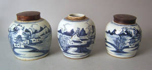 Three Chinese export Canton ginger jars 19th c