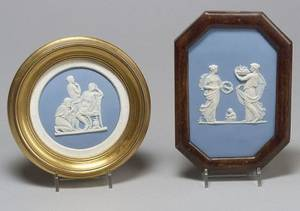 Two Wedgwood Solid Light Blue Jasper Plaques