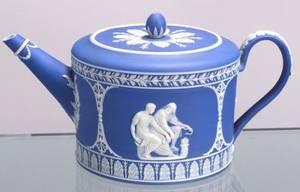 Wedgwood Dark Blue Jasper Dip Teapot and Cover