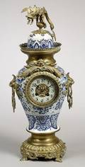 Blue and White Porcelain and Ormolu Mantel Clock