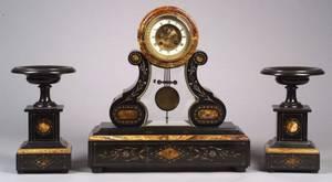 ThreePiece Marble and Onyx Clock Garniture