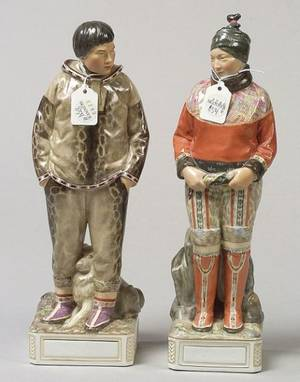 Two Royal Copenhagen Porcelain Gronland Figures of a Man and Woman