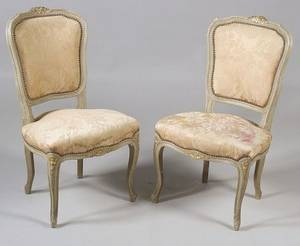 Pair of Louis XV Style Painted and Parcelgilt Side Chairs