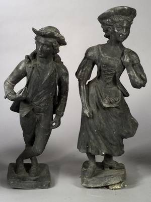 Pair of Cast Lead Garden Statuary Figures 19th century