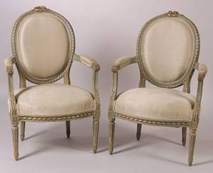 Pair of Louis XVI Style Gray Painted Fauteuil en Cabriolet