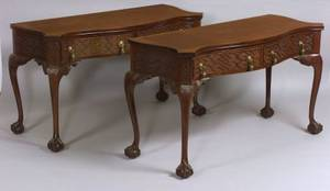Pair of Georgian Chinese Chippendalestyle Carved Mahogany Side Tables