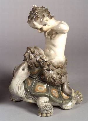 Large Royal Copenhagen Porcelain Figure of a Young Satyr Riding a Turtle