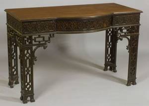 George III Style Mahogany Chinese Chippendale Style Side Table