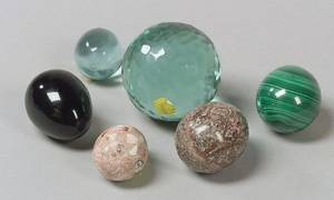 Collection of Nine Hardstone and Glass Eggs
