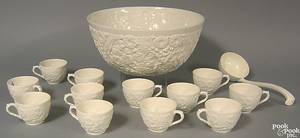 Spode earthenware white relief pattern punch bowl set with bowl