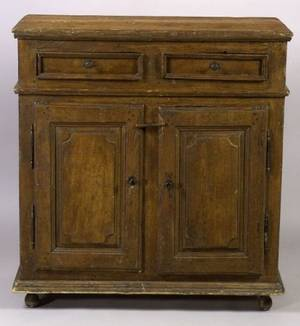 Continental Baroque Walnut Tall Side Cabinet