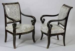 Pair of Empire Revival Ebonized and Giltmetal Mounted Armchairs