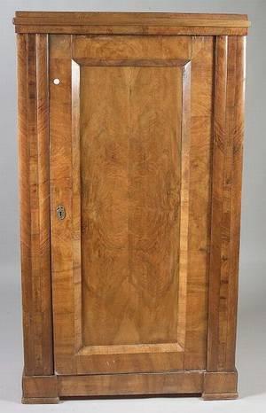 German or Austrian Biedermeier Walnut and Fruitwood Singledoor Armoire