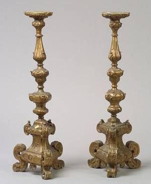 Pair of Italian Baroquestyle Giltwood Pricket Candlesticks
