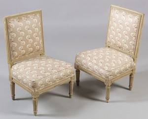 Pair of Louis XVI Style Cream Painted Beechwood Childs Chairs