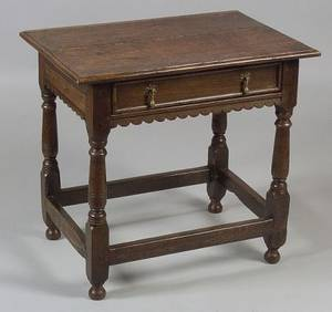 Jacobeanstyle Oak and Elmwood Side Table
