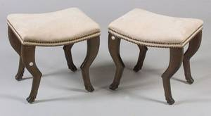 Pair of Empirestyle Mahoganized Beechwood and SuedeUpholstered Stools
